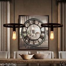 Vintage Retro Industrial Rusty Iron Wheel Pendant Light Ceiling Lamp Cafe Bar