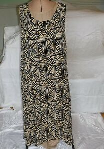 VINTAGE 'OFFSHOOT' YELLOWS BLACK FULL LENGTH 16 SLEEVELESS SCOOP NECK LOOSE FIT
