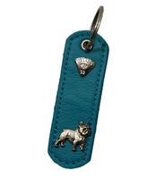 Hund Französische Bulldogge Schlüsselanhänger Hundehalsband Leder LEDASS92 Neu