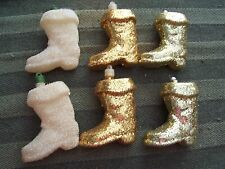 6 VINTAGE GLITTERY BOOT CHRISTMAS ORNAMENTS - SILVER, GOLD & WHITE