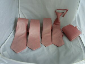 "Dusky Pink Polyester Tie>Classic 3.3""- Slim 3""- Skinny 2.5""-Boys 2.5""-Hanky+Sets"