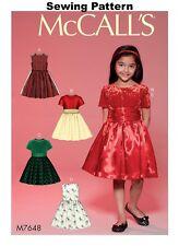 McCalls M7648 Pattern Children's/girls Dresses Sizes 3-14 3 4 5 6