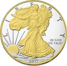 2017 American Silver Eagle , 24k Gold Gilded  1oz .999 pure Silver Coin BU