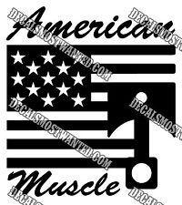 """AMERICAN MUSCLE"" Car American Flag and piston wall window decal die cut vinyl"