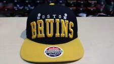 NHL Boston Bruins 2 Tone Black Gold Team Logo on Side Retro Snapback Cap Hat