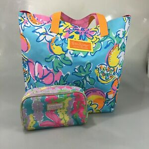 Lilly Pulitzer for Estee Lauder Tropical Print Tote Bag & Make-Up Cosmetics Bag