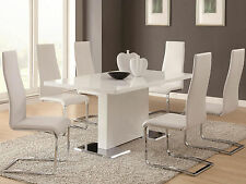 Avenita 7 pieces Modern Dining Room Set Furniture Glossy White Rect Table Chairs