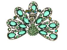 Intricate Erinite Peridot Crystal Rhines Peacock Detail Design Pin Brooch Gift