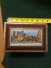 'KLANN QUALITY' WESTERN GERMANY TIN BOX HORSES, CARRIAGE, CASTLE  RED/GOLD