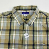 NWOT Simply Styled Button Up Shirt Men's Size 2XLT Short Sleeve Tan Blue White