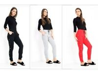Womens Popper Button Trousers Loungewear Ladies Bottoms UK 8-12 New Black Red