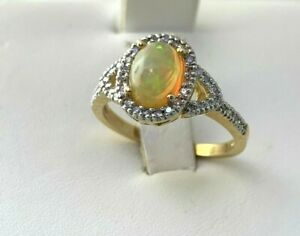 Oval Shape Natural Opal & Diamond Ring in 14k Solid Yellow Gold Sz 7