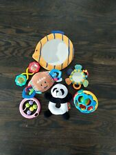 Bright Starts 7pc Baby Toy Lot Infant Teethers Hanging Rattles Mirrors Animals