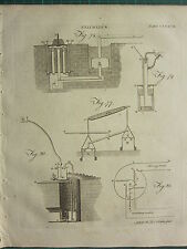 1797 GEORGIAN PRINT ~ PNEUMATICS VENTILATING MACHINE BLOWING TRUNK APPARATUS