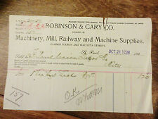 1898 St. Paul Union Depot Receipt Invoice Robinson Cary Railway Supplies MN