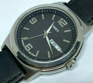 Timex Men 50m Silver Black Leather Analog Quartz Watch Hour~Day Date~New Battery