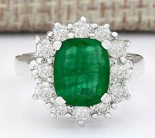 3.20 Carat Natural Emerald 14K White Gold Diamond Ring