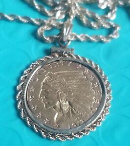 """1913 $2.50 Gold Indian inside 14k bezel and 26"""" 2mm. 10k necklace."""