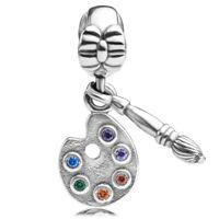 925 sterling silver Artist's Palette Brush Dangle Charm CZ fit European Bracelet