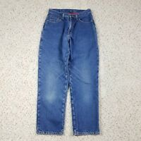 Vtg LL Bean Women's Double L Relaxed Fit Plaid Flannel Lined Blue Jeans Size 8P