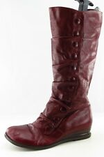 Miz Mooz Bloom Mid-Calf Boots  Red Leather Women Size 10
