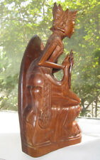 """Balinese Wood Carving Kneeling Buddha Crowned Empress 11.75"""" Attractive"""