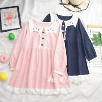 Mori Girl Kawaii Preppy Style Long Sleeve Lolita Japanese Dress Sweet Two Color