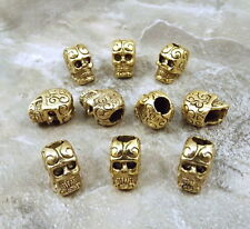 10 Gold Tone Pewter Decorative Sugar Skull Beads- with Vertical Hole - 5440