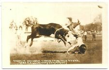 RPPC Rodeo Charlie Johnson Thrown from Steer   R R Doubleday Photo  1923