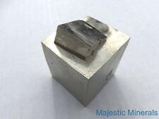 "MIRROR SHINE__HUGE Lusterous 1 3/8 "" Entwinned Pyrite Cube__Navajun Mine , Spain"
