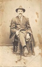 STAUNTON VA MAN IN SUIT SITTING IN CHAIR BLAKEMORE REAL PHOTO POSTCARD c1910s