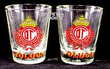 2 Club Deportivo TOLUCA  Soccer football Team Shot Glass Pair copita caballito