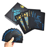 55Pcs Waterproof Plastic Pvc Black & Gold Playing Cards Poker Card Board G El