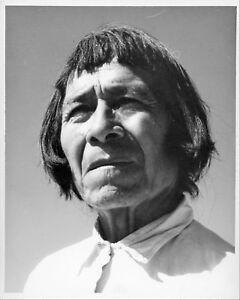 Willis Rue Western Photo Portrait Gazing Native Male Elder in White Collar Shirt