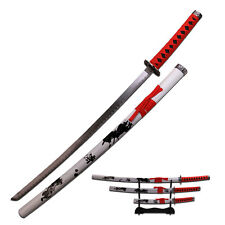 3 Piece White Samurai Katana Swords Sword Set # 79-4-2