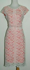 INC International Concepts Ivory Lace over Coral Short Sleeve Dress 10 8