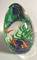 "Zellique Art Glass Paperweight Aquarium Orange Angel Fish 4"" Seascape Signed"
