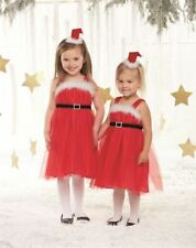 Mud Pie Baby/Toddler Girl Christmas Santa Dress with Belt and Hair Clip NEW