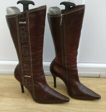 RIVER ISLAND WOMENS BROWN LEATHER KNEE HIGH WINTER BOOTS SHOES SIZE UK 7 EU 40