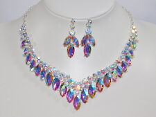 Silver AB Iridescent Marquise Rhinestone Crystal Necklace,Earrings Set /17853