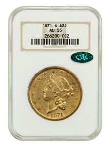 1871-S $20 NGC/CAC AU55 (OH) - Liberty Double Eagle - Gold Coin - Old NGC Holder