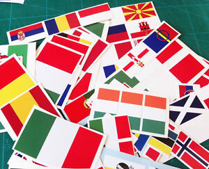 10x European/International Flag Full Colour Stickers decals bike car office