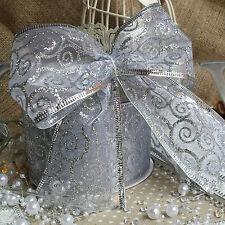 Wired Silver Glitter Swirl Patterned Ribbon. Christmas, Hamper, Bow Cake Wedding