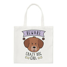 Fai attenzione Crazy Dog Ragazza Small Tote Bag-Divertente Cucciolo Animali Pet Spalla Shopper