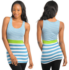 Womens Stretch Slim Tank Top Cami Casual Cotton T-Shirt LIGHT BLUE LARGE STRIPED