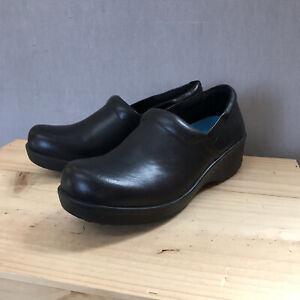 Dr Scholls Work Leather Slip/Oil Resistant Clog Women's 11 Black Leather New