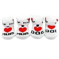 KQ_ Baby Cotton Socks White I Love Mum/Dad 0-6 Months Newborn Infant Boys Girls