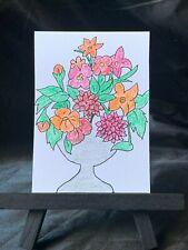 ACEO Original Flower Pod Medium Black Ink Marker & Prismacolor on Paper Signed