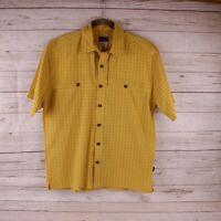 NEW Patagonia Mens Medium Button Shirt Short Sleeve Check M Yellow