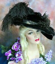 New listing Antique Victorian Hat velvet Feathers Plumes Lace original c1895 Paris Label